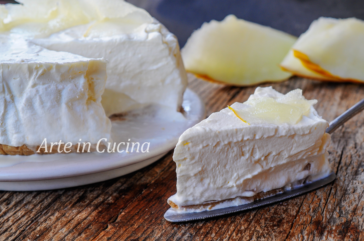 Torta fredda al melone bianco e cioccolato vickyart arte in cucina