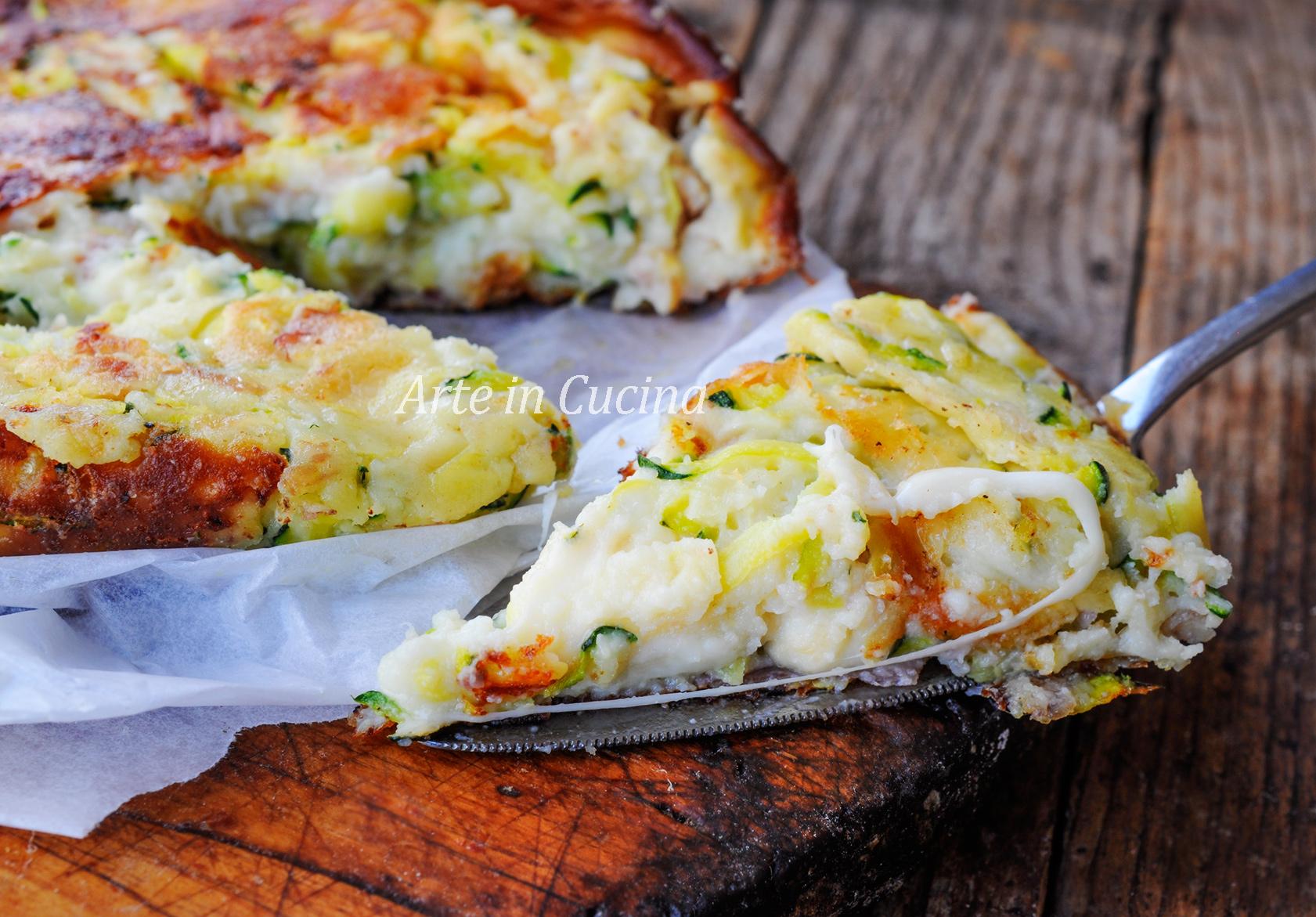 Torta salata senza uova zucchine e ricotta in padella vickyart arte in cucina