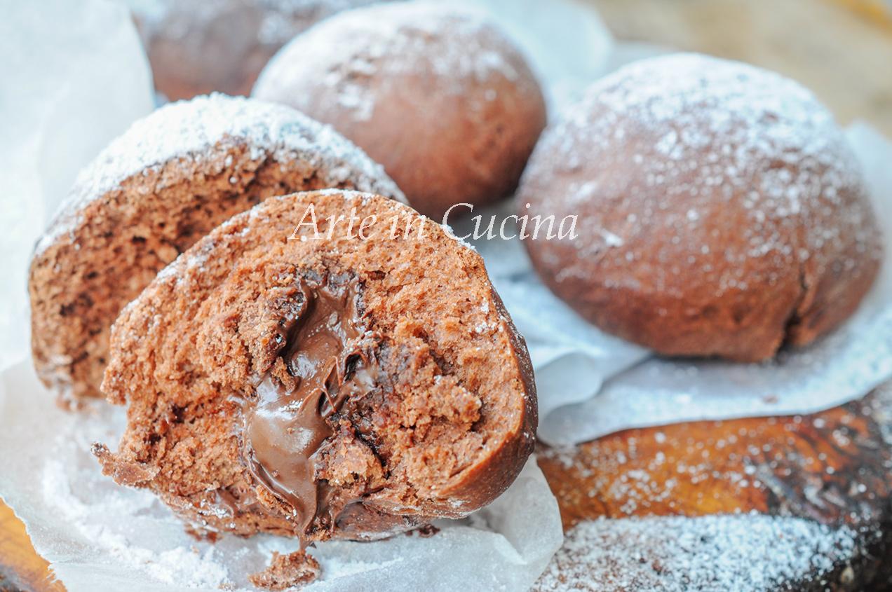 Bomboloni al cioccolato e nutella sofficissimi vickyart arte in cucina