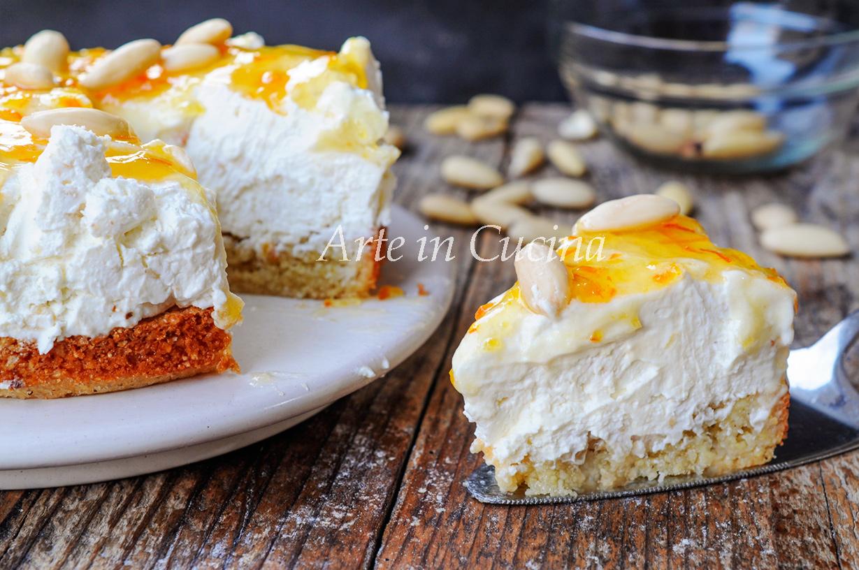 Cheesecake amaretto sardo e mandorle dolce veloce vickyart arte in cucina