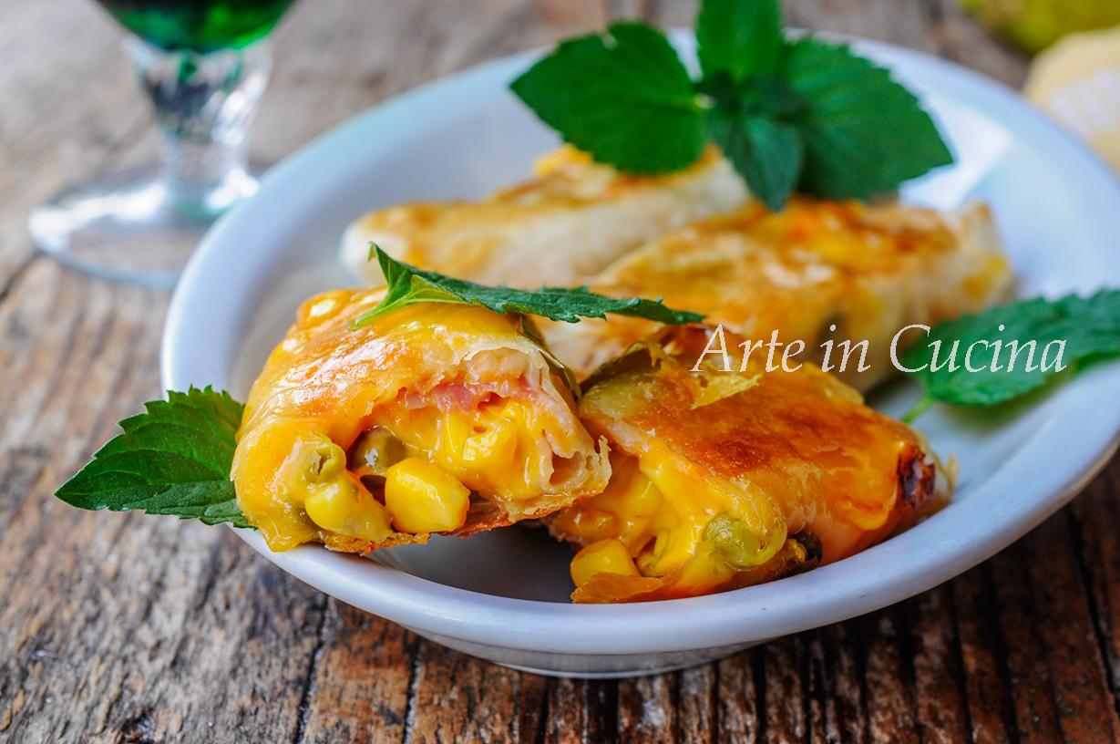 Involtini di fillo pancetta e mais ricetta sfiziosa vickyart arte in cucina