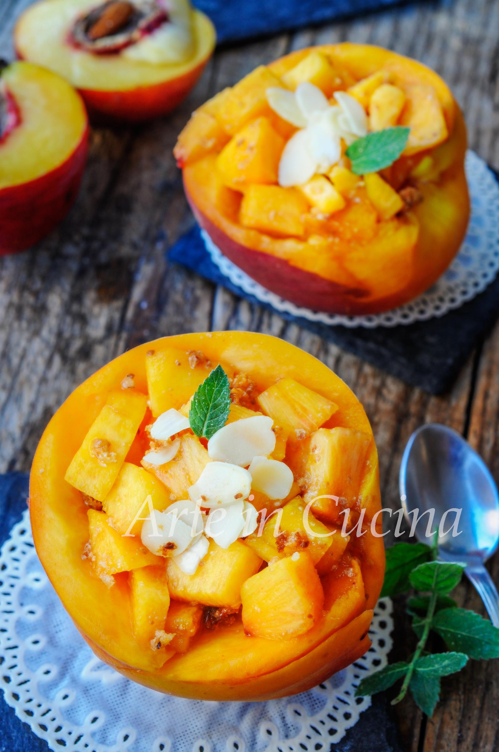 Pesche all'amaretto dolce freddo senza cottura veloce vickyart arte in cucina