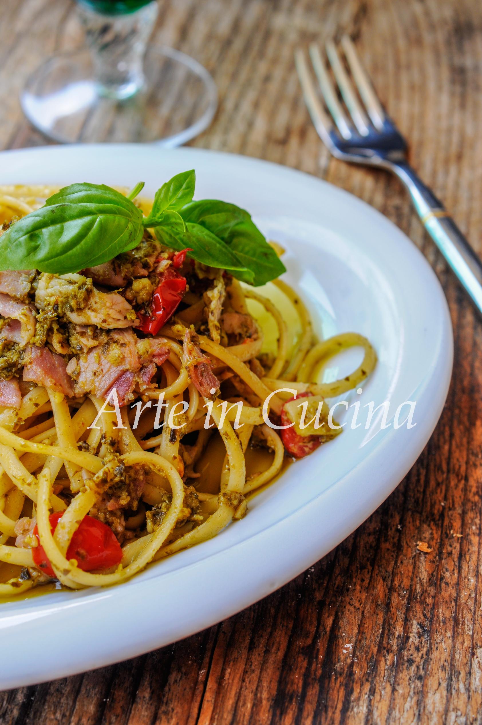 Spaghetti al pesto e prosciutto ricetta veloce vickyart arte in cucina