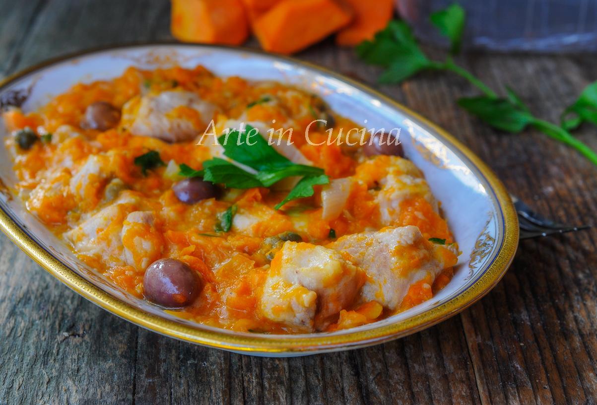 Bocconcini di pollo con zucca e olive in padella vickyart arte in cucina