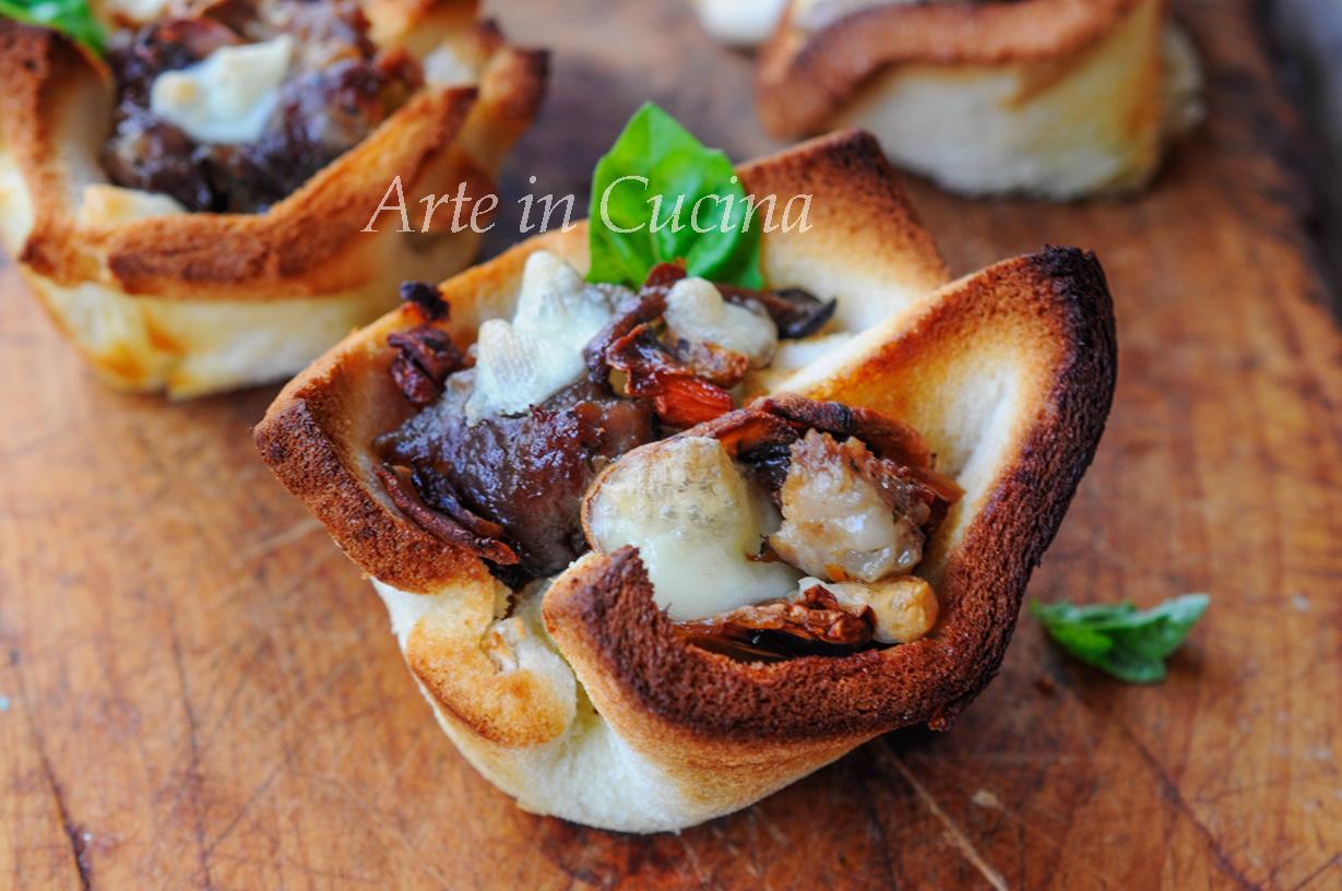 Cestini di pancarrè con funghi e salsiccia ricetta veloce vickyart arte in cucina