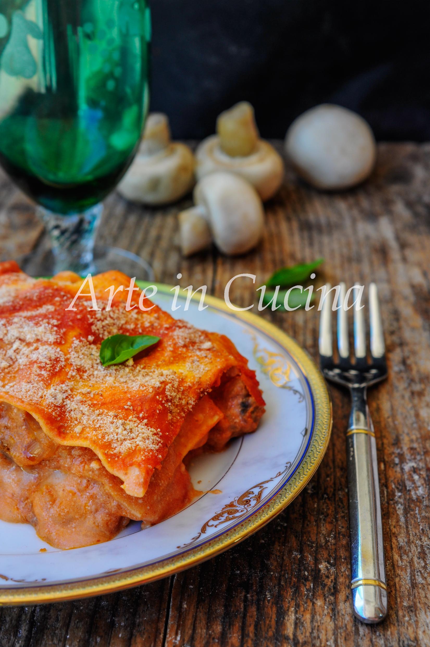 Lasagna con funghi e salsiccia ricetta facile vickyart arte in cucina