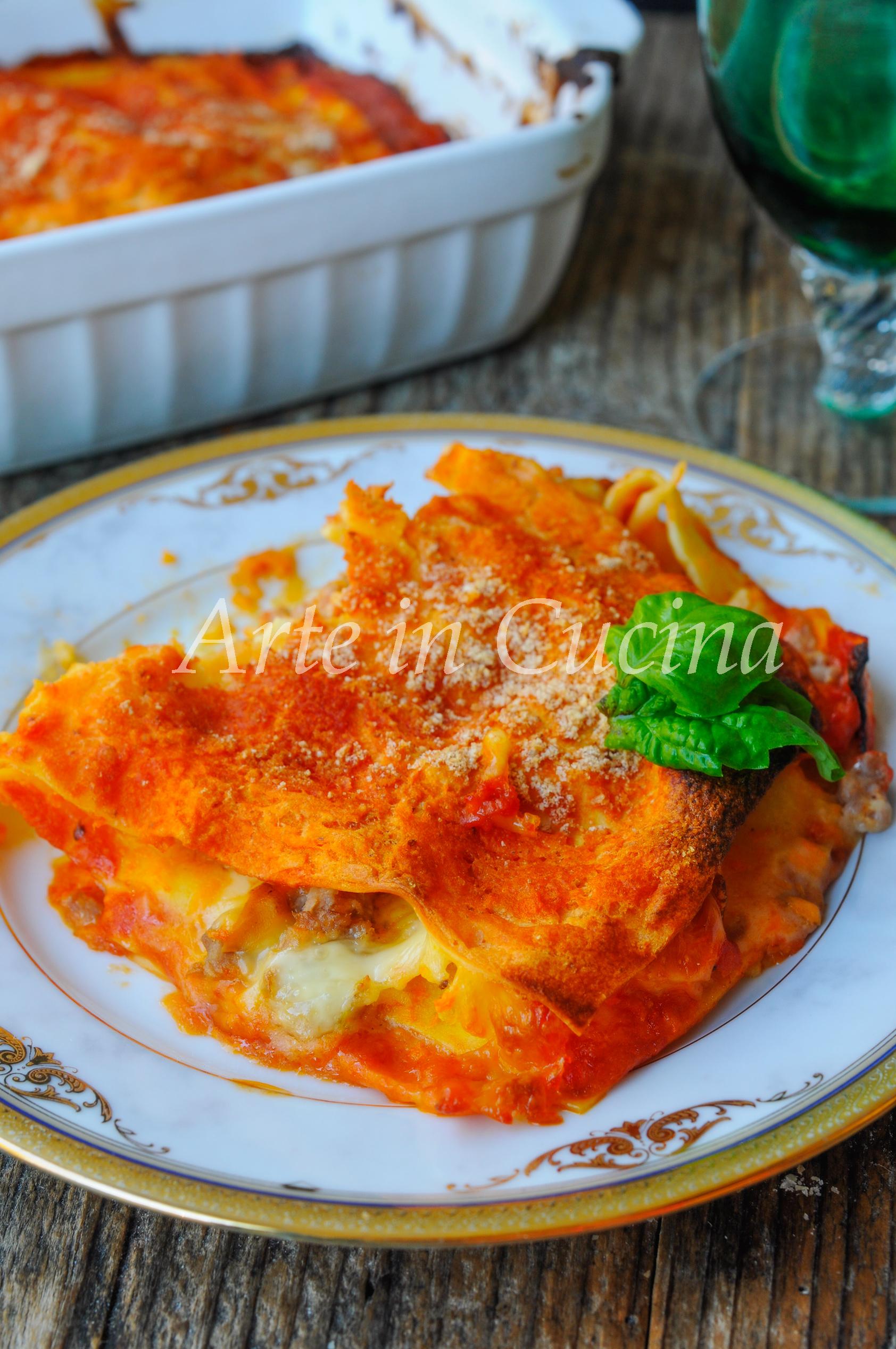 Lasagna zucca e salsiccia gratinata al forno vickyart arte in cucina