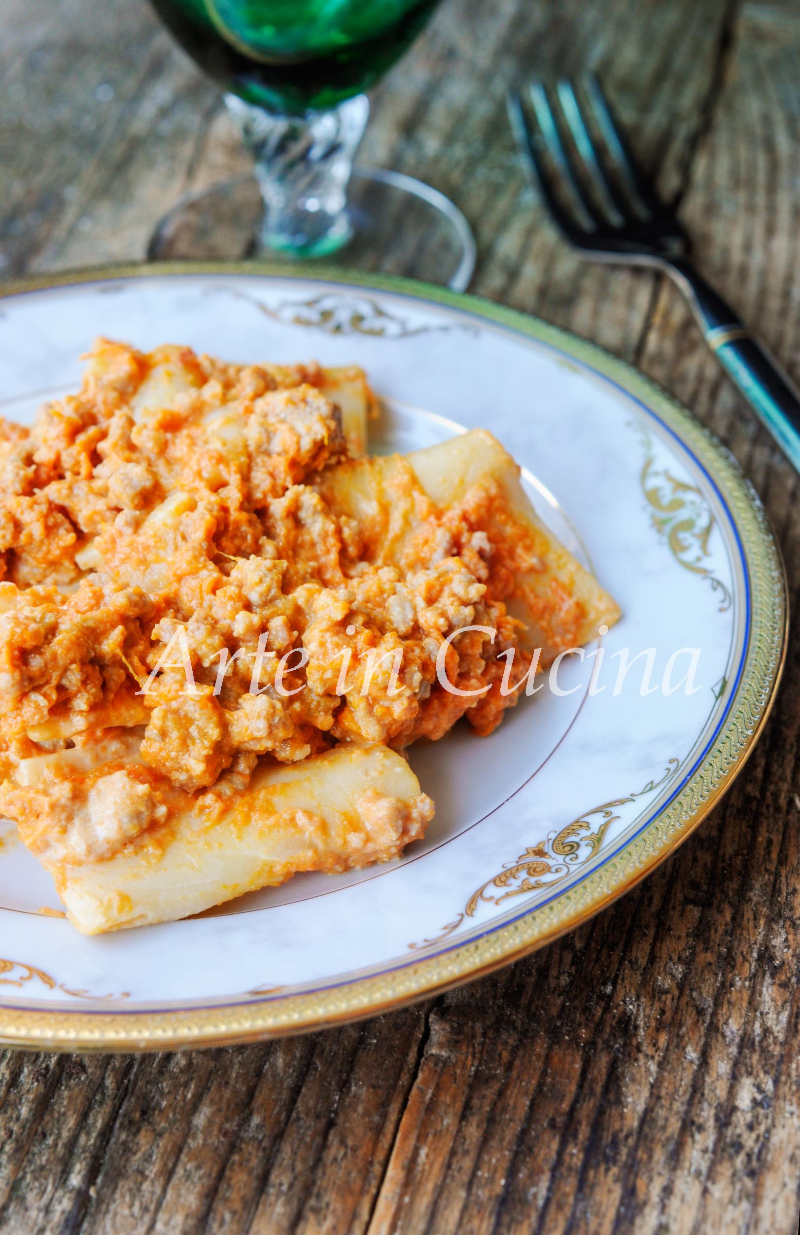 Paccheri al ragù di zucca ricetta semplice e veloce vickyart arte in cucina