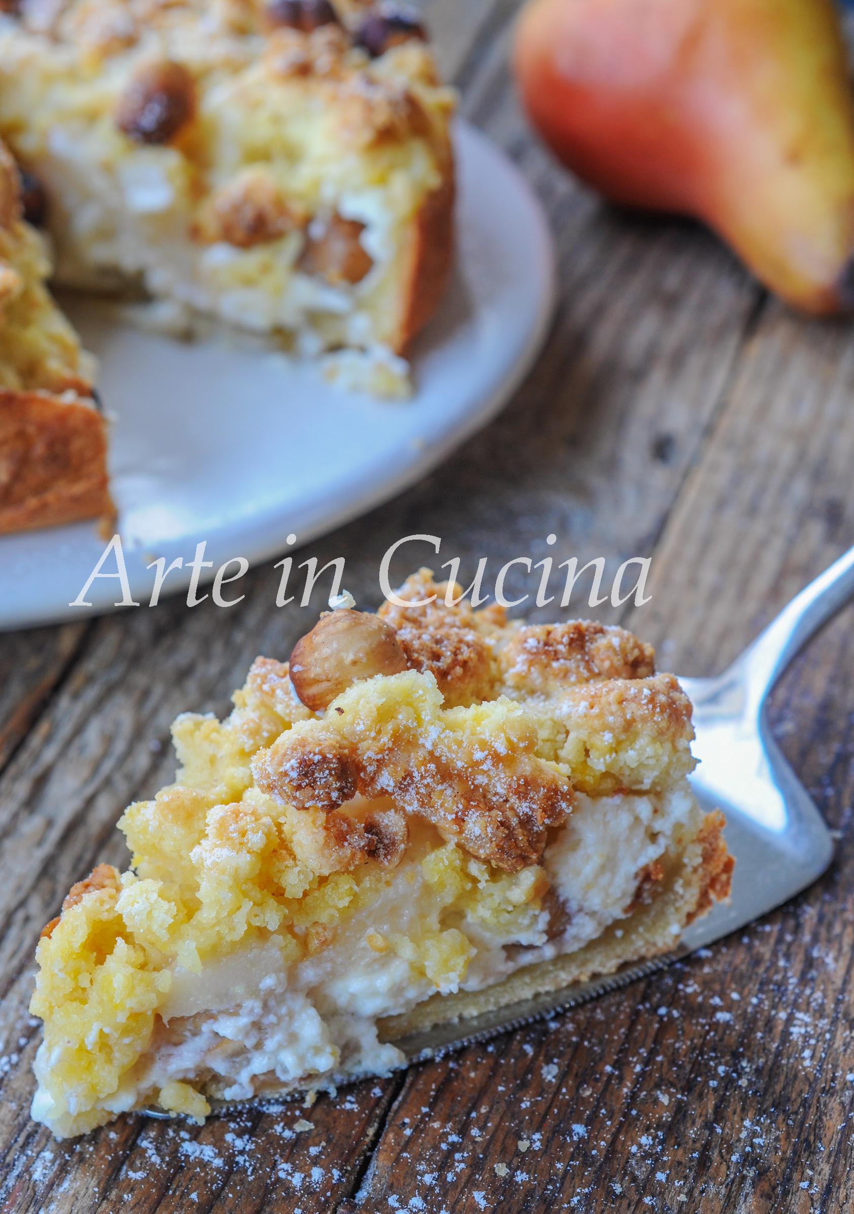 Sbriciolata ricotta e pera con nocciole ricetta veloce vickyart arte in cucina
