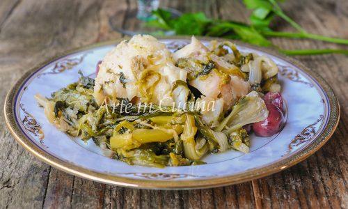 Baccalà con scarola e olive ricetta leggera facile