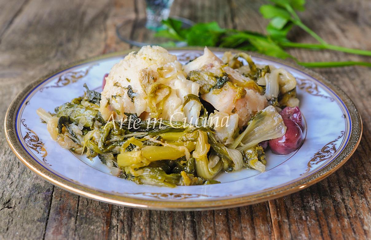 Baccalà con scarola e olive ricetta leggera facile vickyart arte in cucina