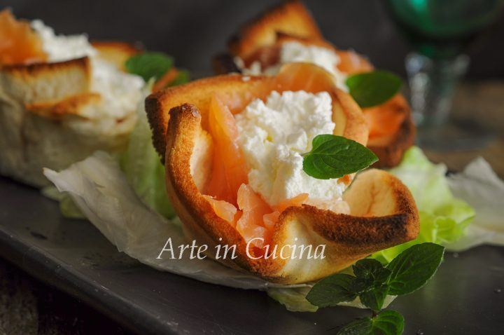 Cestini di pancarrè al salmone antipasto veloce vickyart arte in cucina