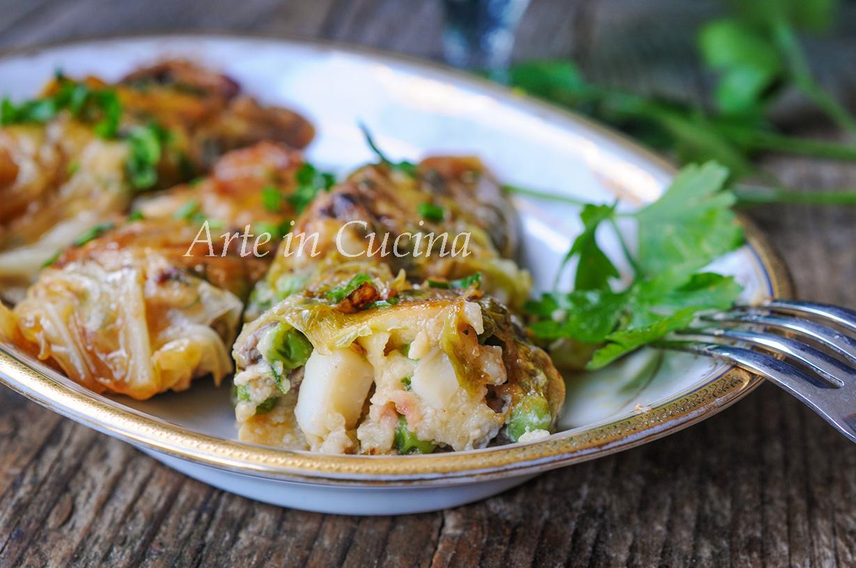 Involtini di verza con seppie e piselli ricetta facile vickyart arte in cucina