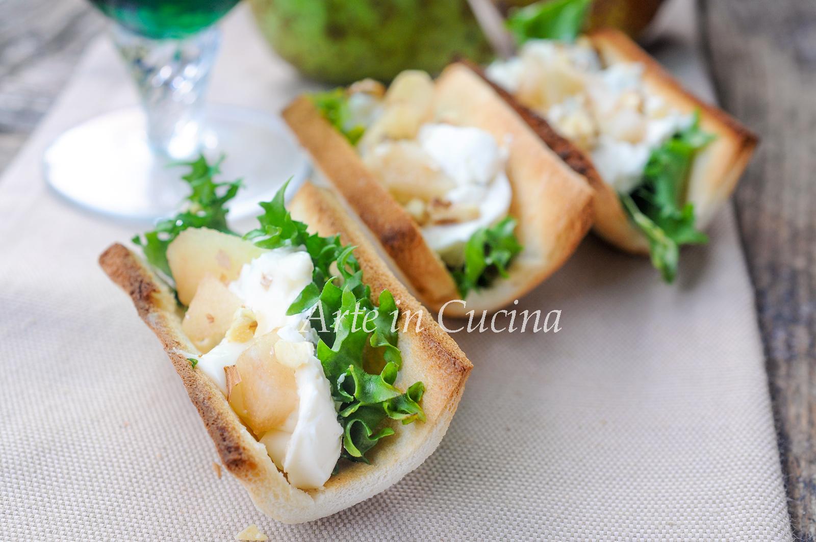 Barchette di pane gorgonzola pere e noci vickyart arte in cucina