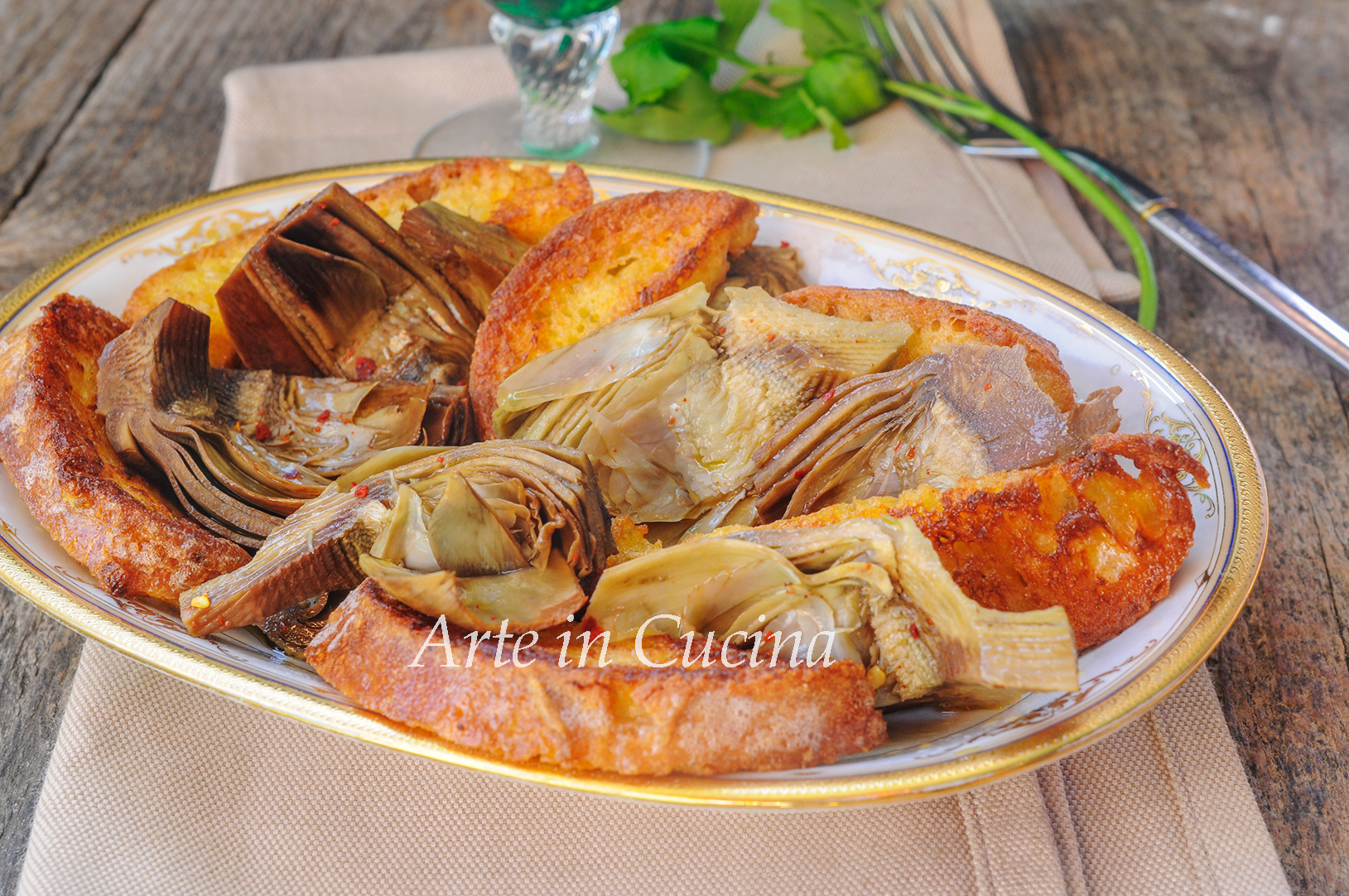 Pane dorato con carciofi sott'olio veloce vickyart arte in cucina