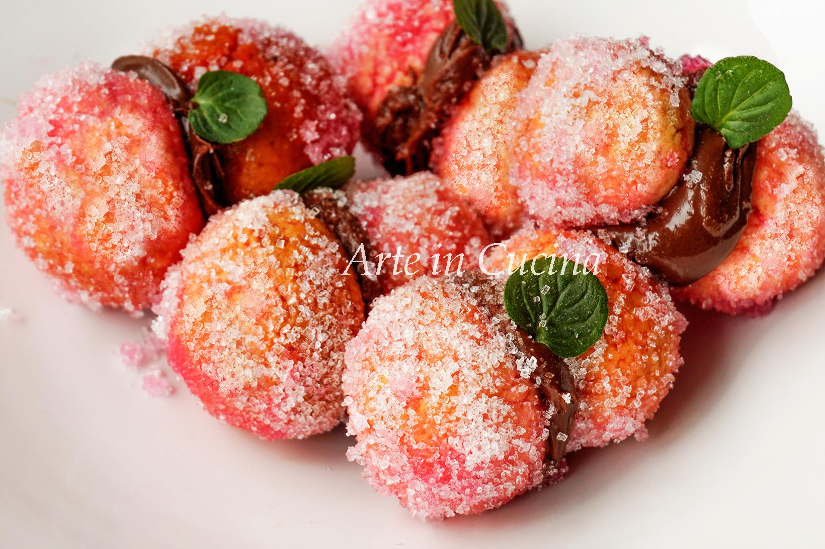 Pesche alla nutella ricetta dolce facile vickyart arte in cucina