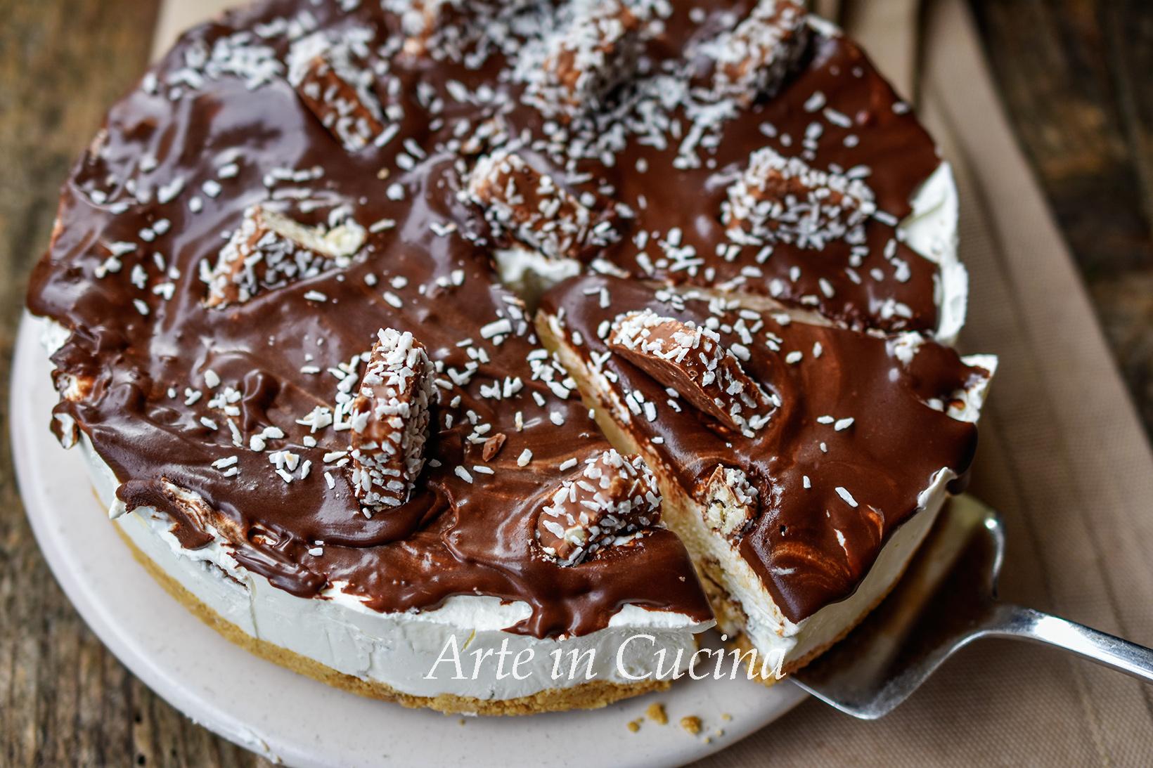 Cheesecake cocco e cioccolato dolce veloce vickyart arte in cucina