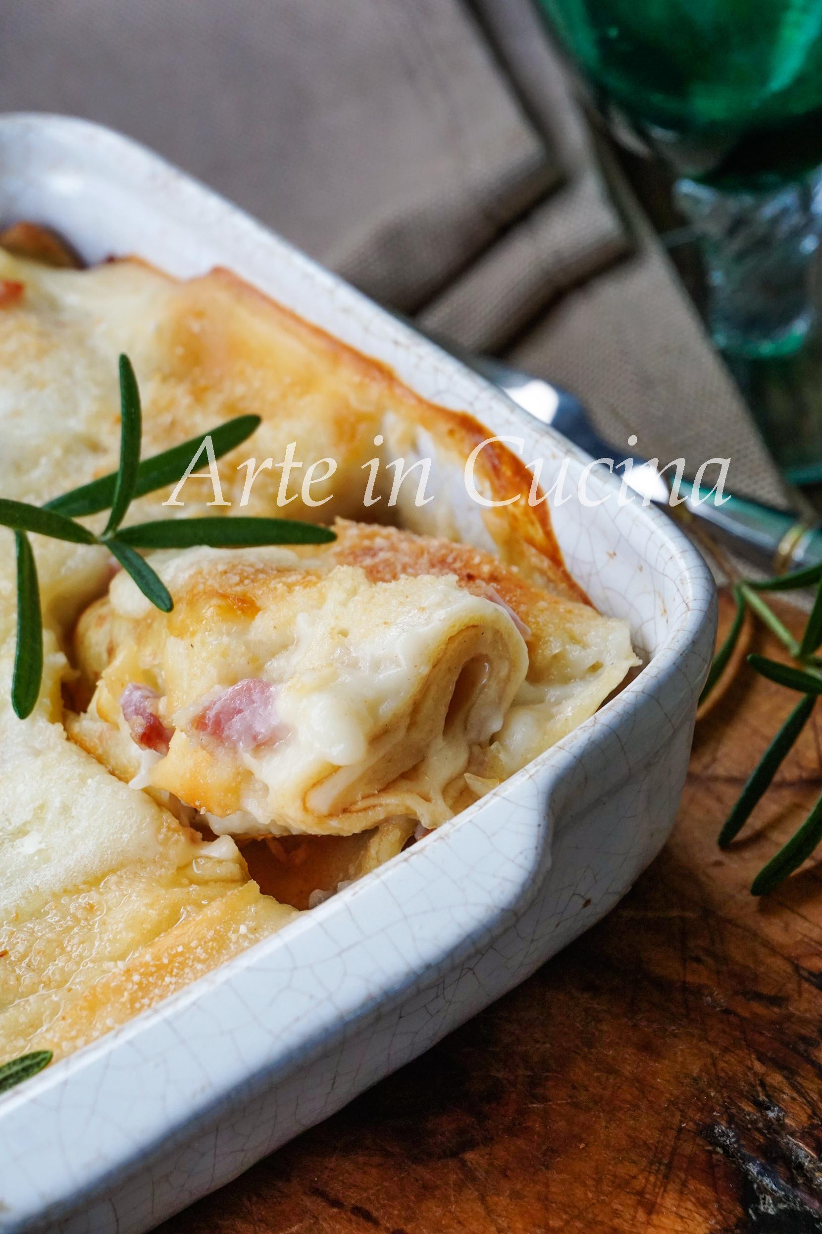 Cannelloni di crepes speck e provola con besciamella vickyart arte in cucina