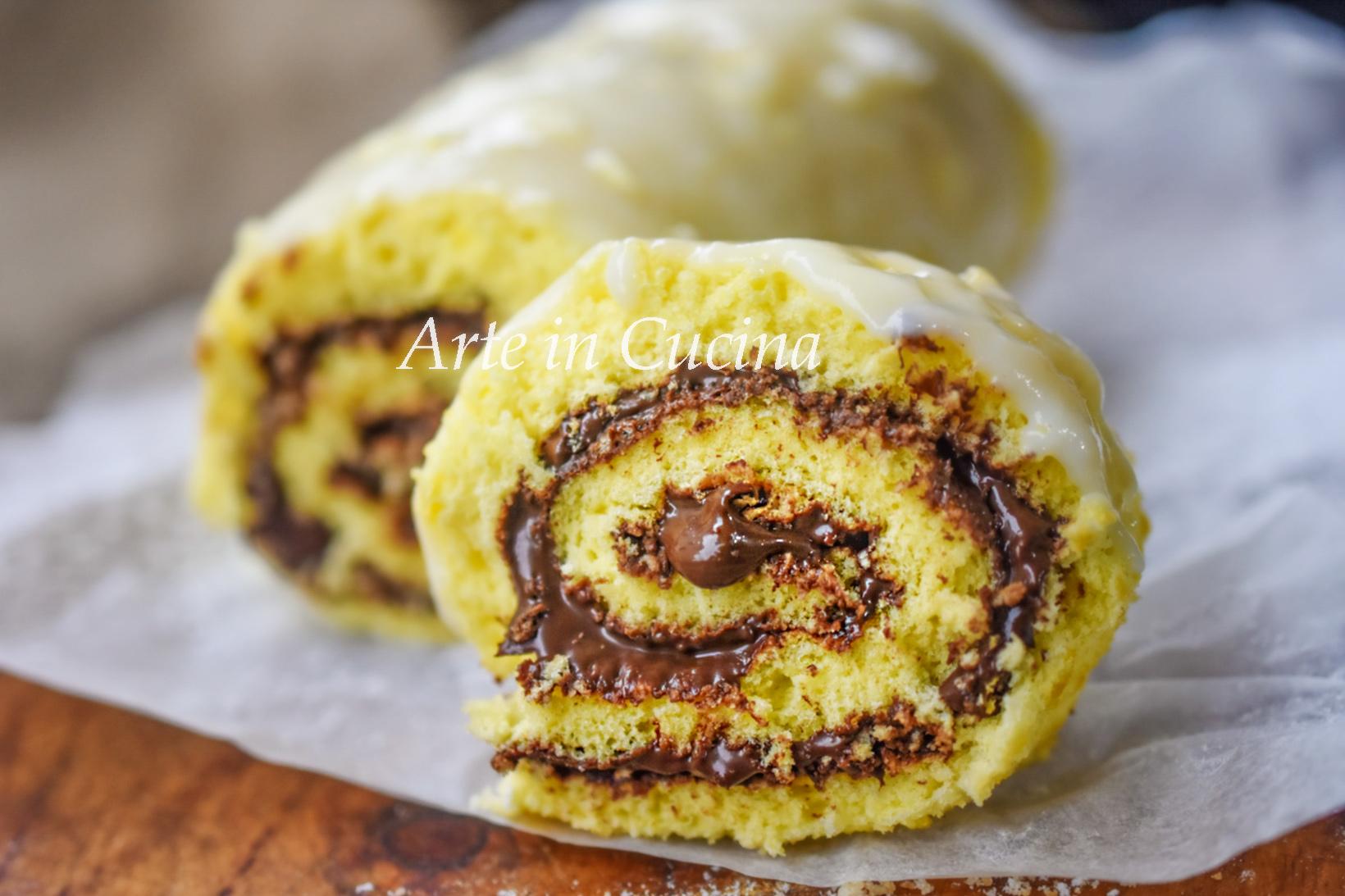 Rotolo nutella e cioccolato bianco veloce vickyart arte in cucina