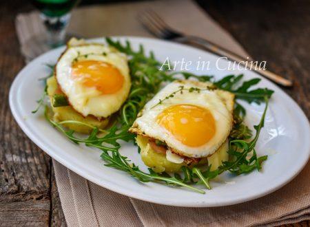 Bruschette morbide patate asparagi e uova