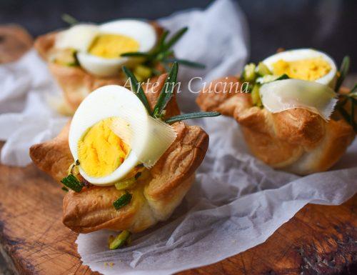 Cestini sfogliati con uova sode veloci