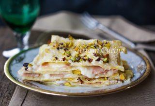 Lasagne mortadella e pistacchi in bianco vickyart arte in cucina