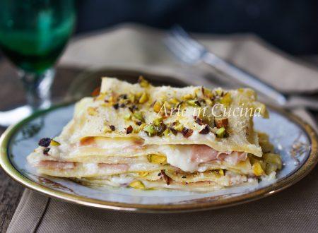 Lasagne mortadella e pistacchi in bianco