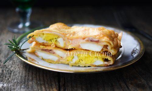 Lasagne con salame e uova sode veloci