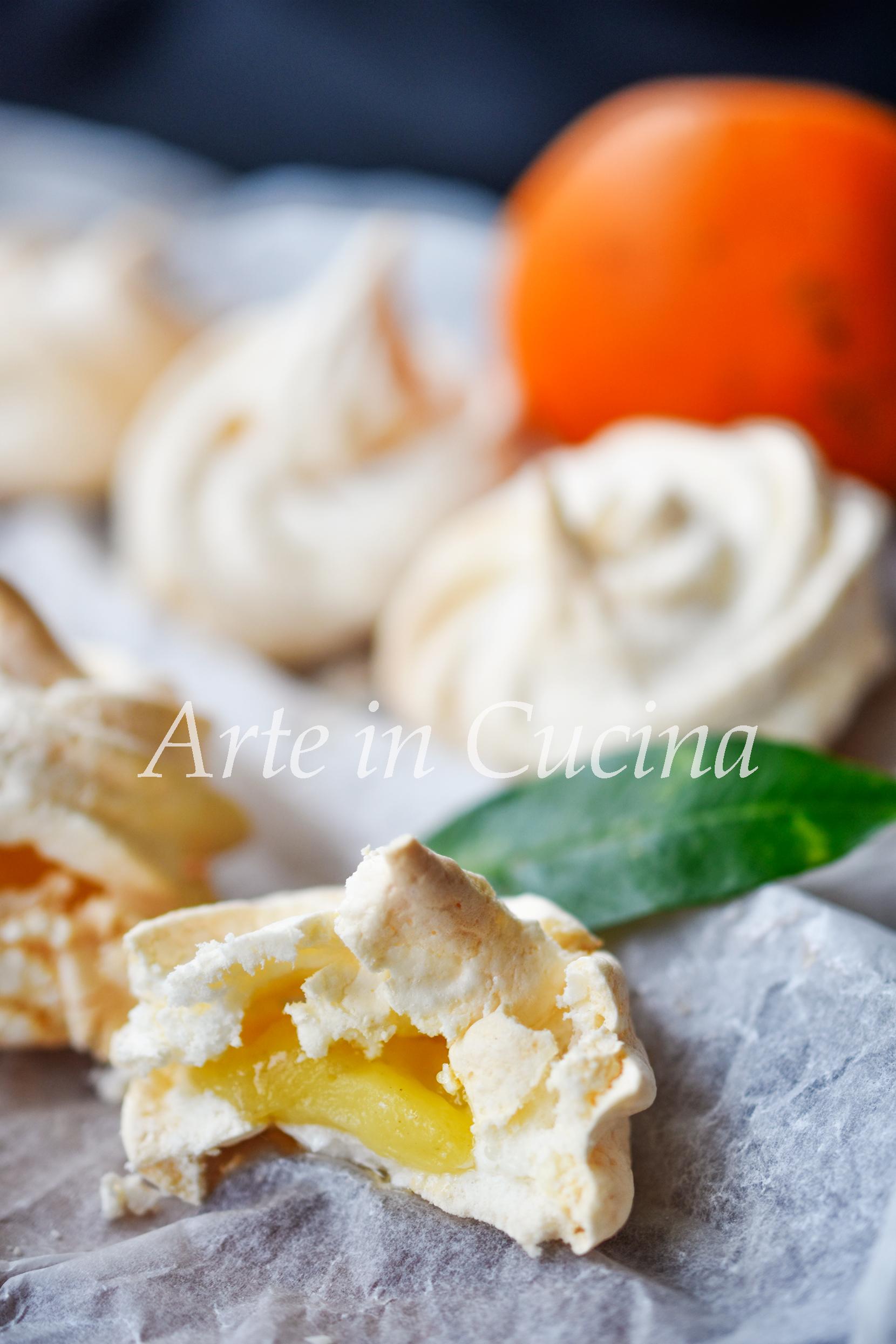 Meringhe con arancia ripiene di crema pasticcera vickyart arte in cucina