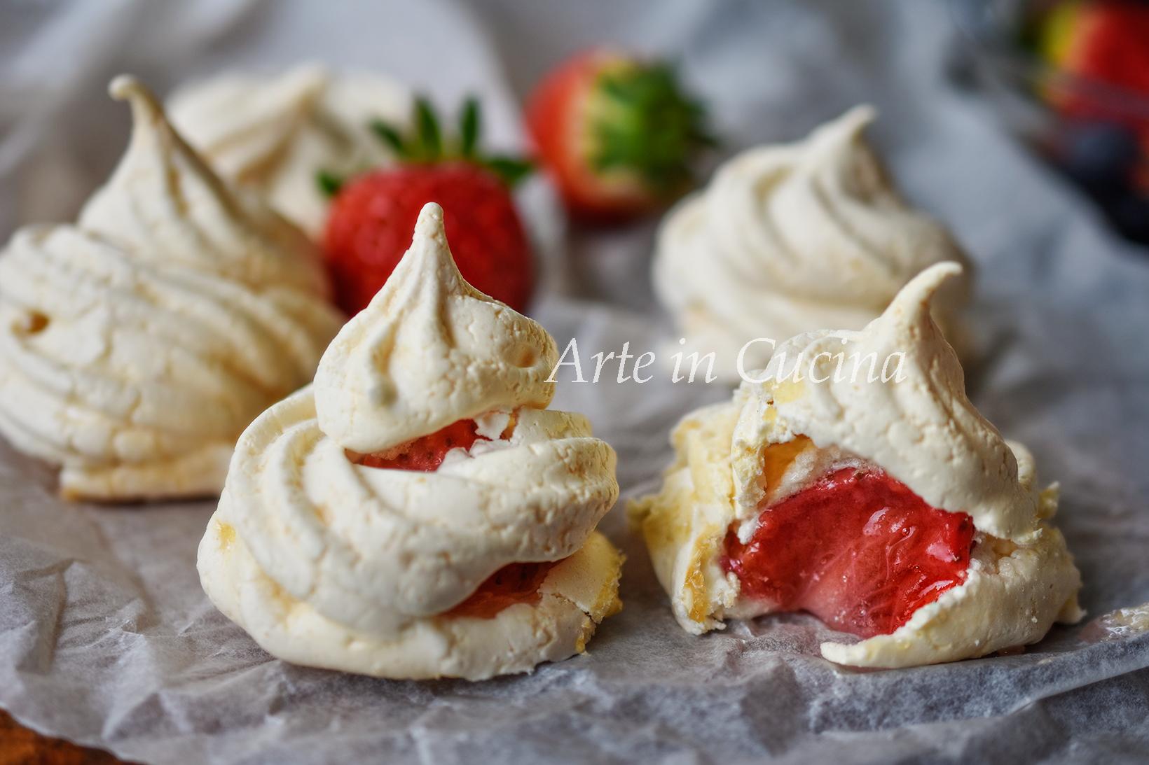 Meringhe alle fragole velocissime vickyart arte in cucina
