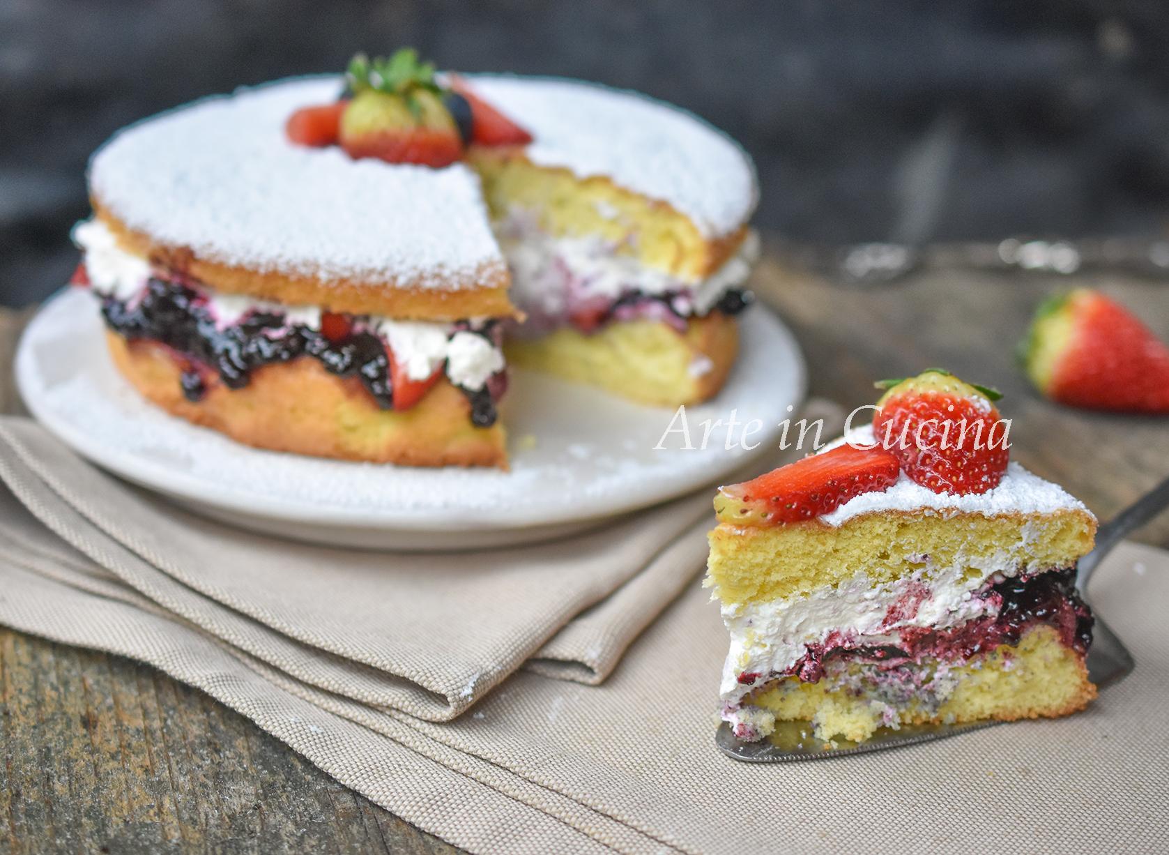 Torta panna fragole e marmellata 10 minuti vickyart arte in cucina