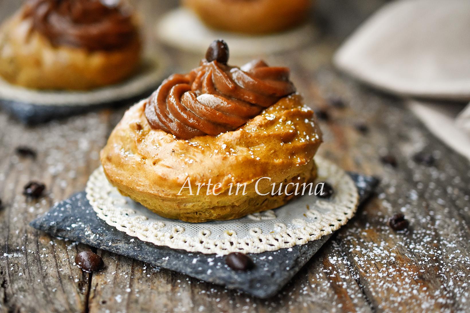 Zeppole al caffè e crema al cioccolato vickyart arte in cucina