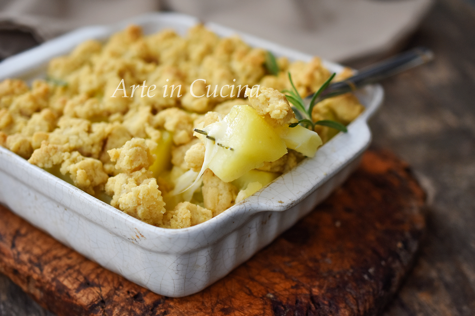 Crumble di patate e provola ricetta facile vickyart arte in cucina
