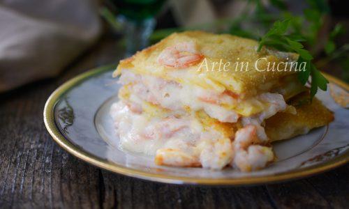 Lasagne salmone e gamberetti con besciamella