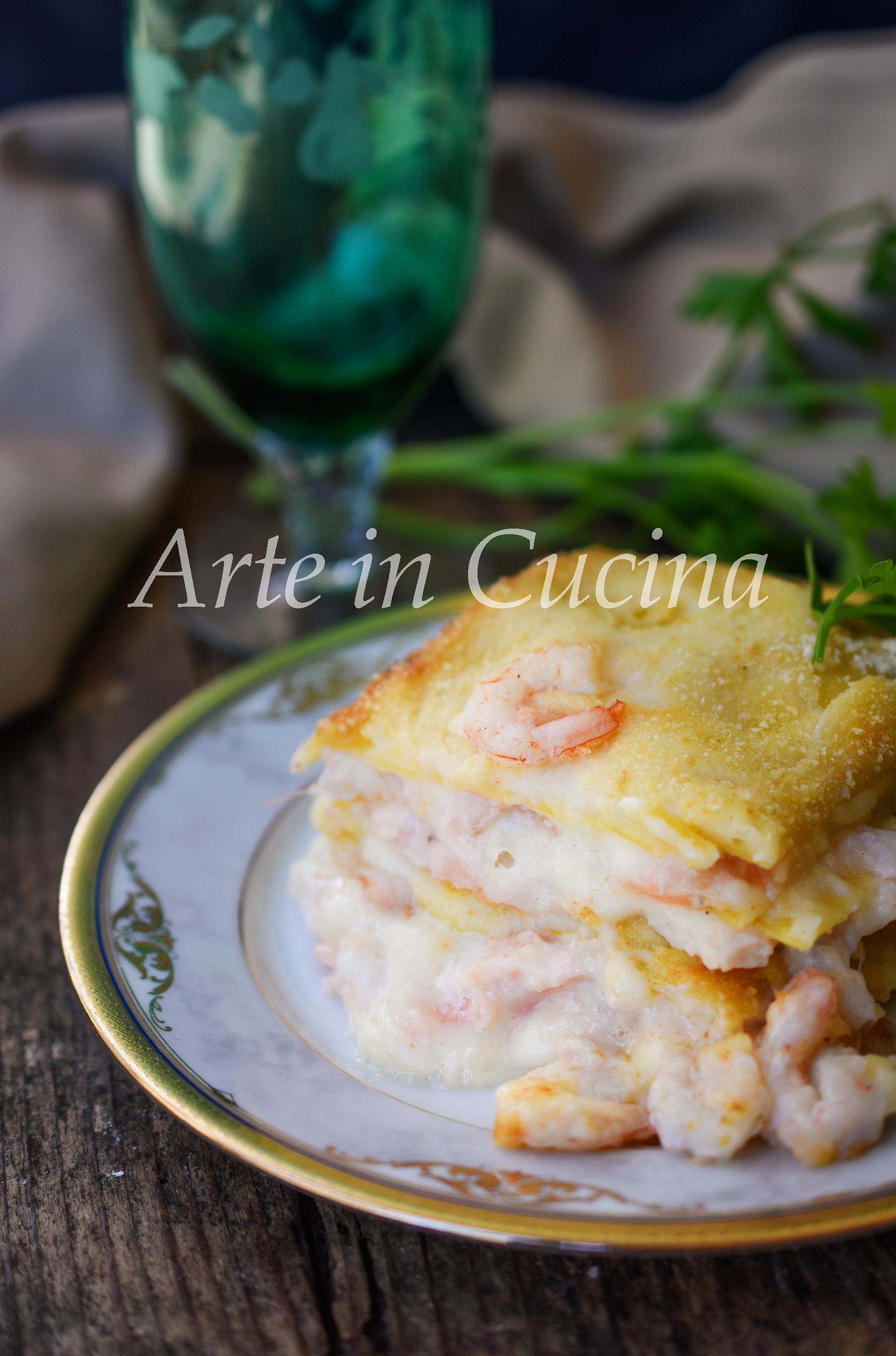 Lasagne salmone e gamberetti con besciamella vickyart arte in cucina