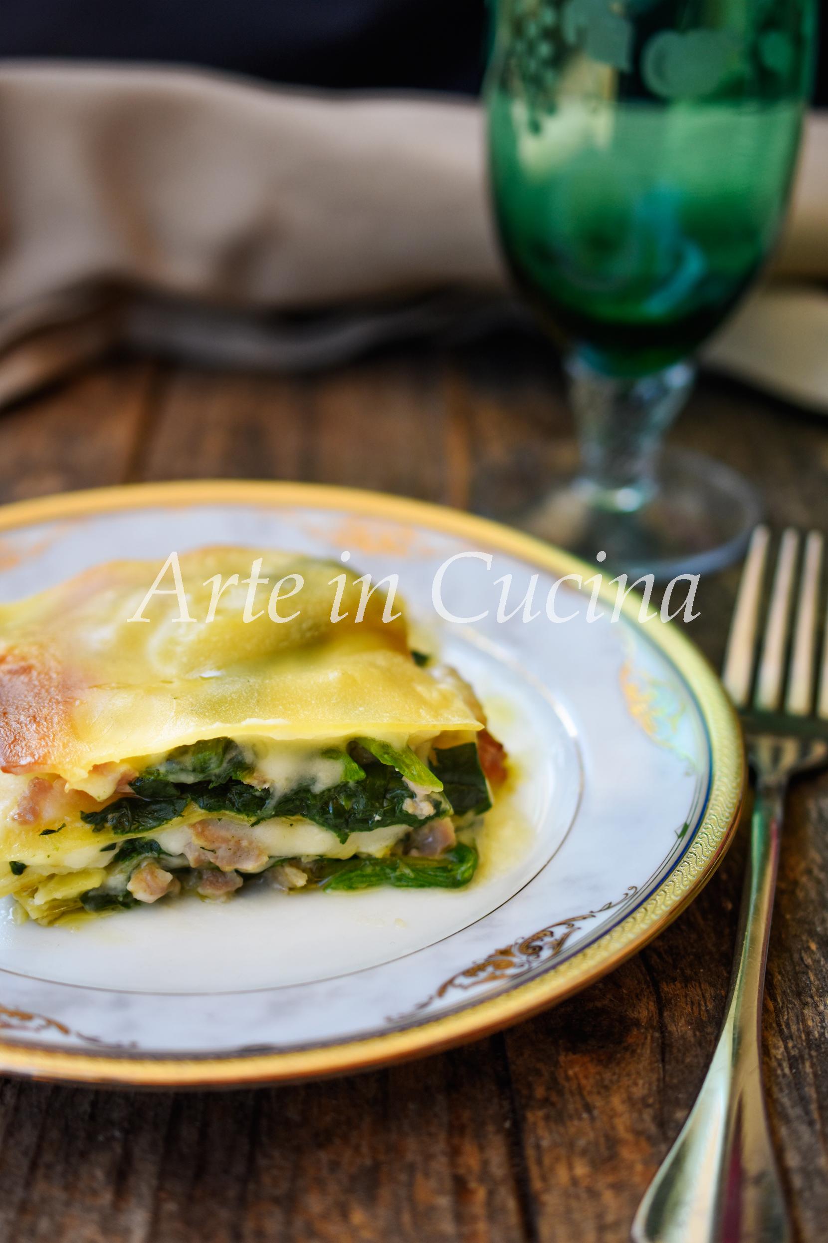 Lasagne spinaci e salsiccia con besciamella pasta al forno vickyart arte in cucina
