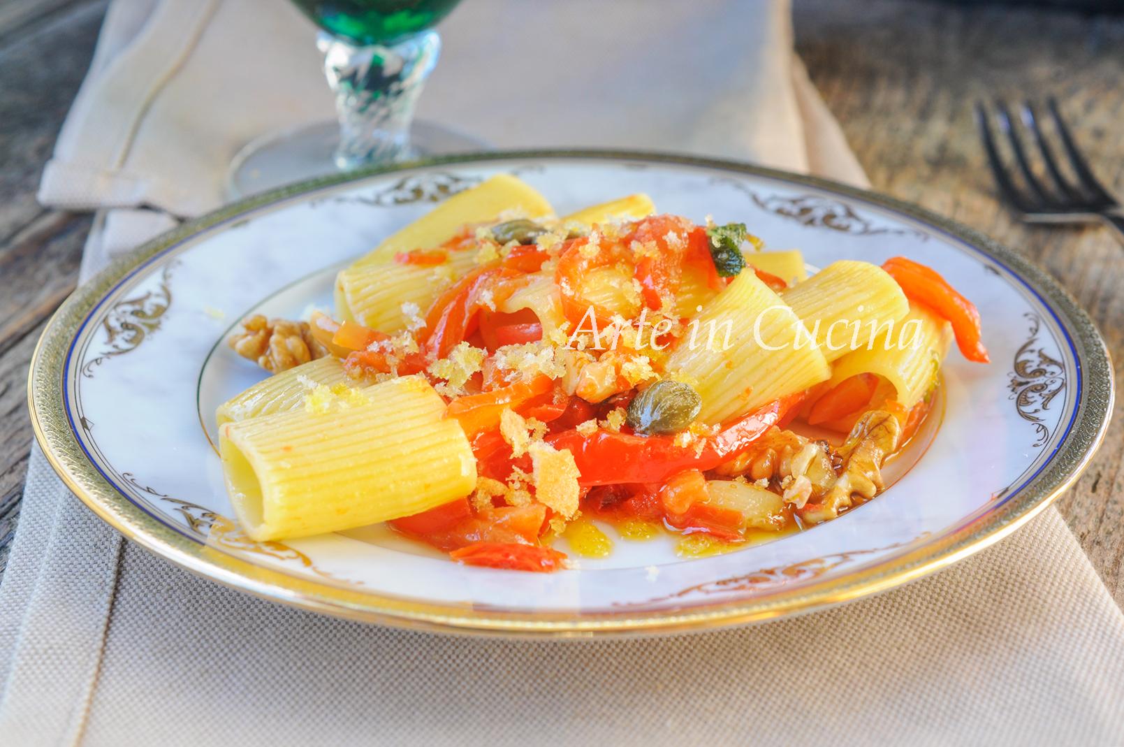 Paccheri con peperoni e noci con mollica, ricetta veloce sfiziosa vickyart arte in cucina