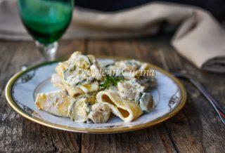 PACCHERI ZUCCHINE e gamberetti veloci, ricetta primo di pesce facile vickyart arte in cucina
