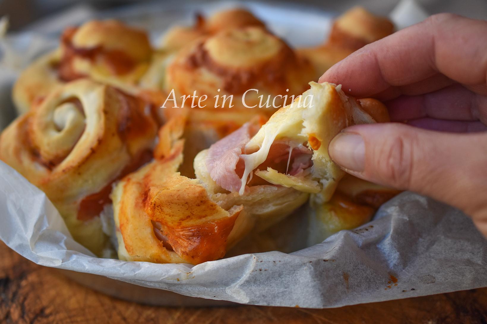 Torta di rose sofficissima al prosciutto con impasto pizza vickyart arte in cucina