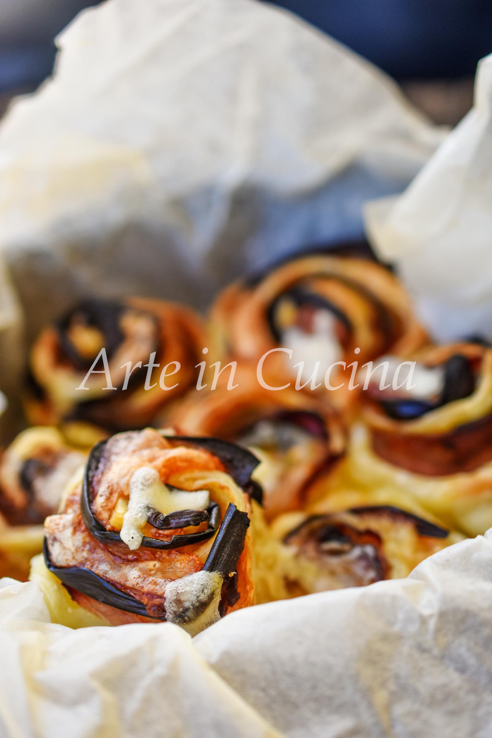 Torta di rose melanzane e prosciutto veloce vickyart arte in cucina