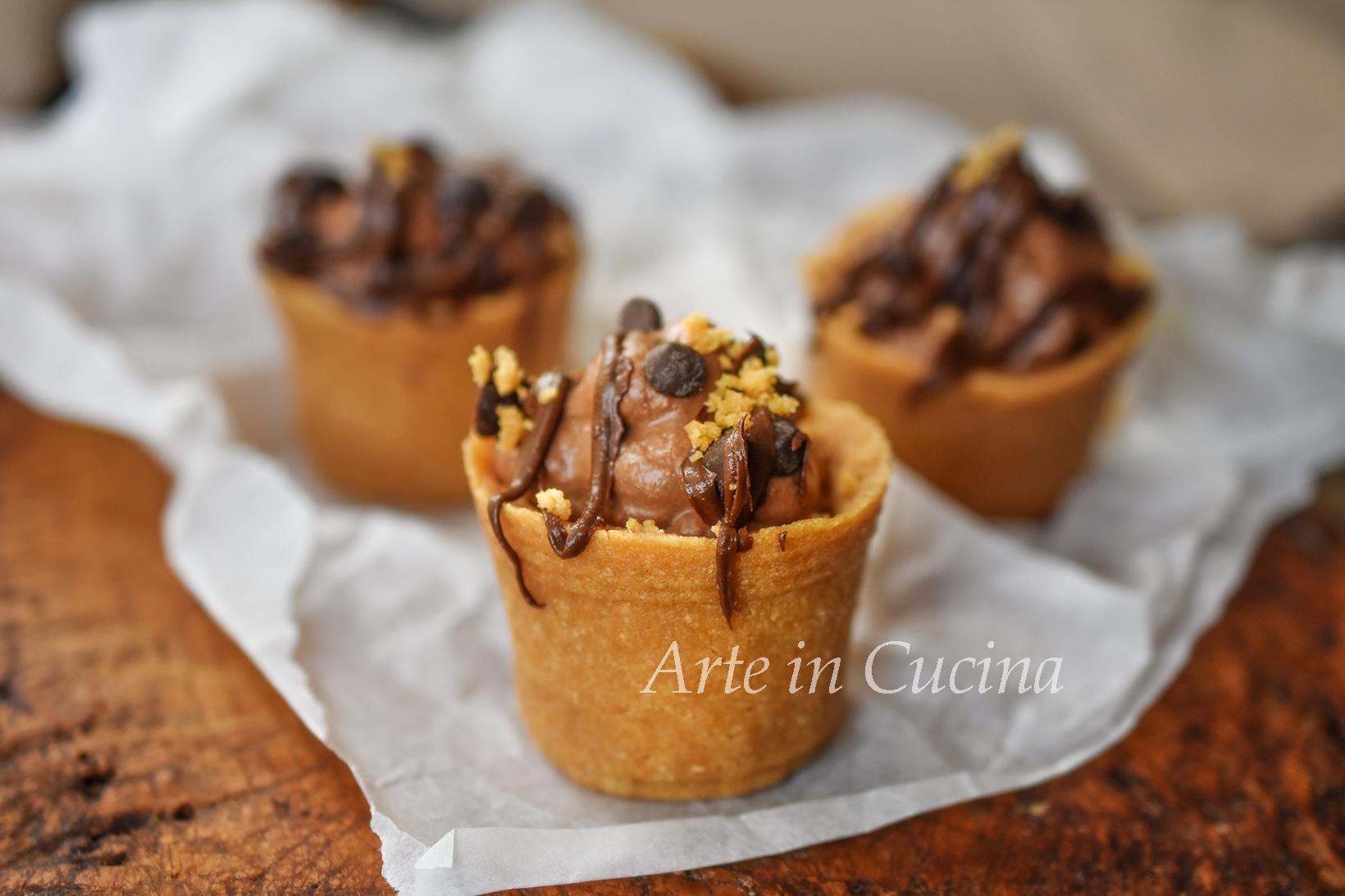 Tortine con ricotta e cioccolato veloci senza forno dolci monoporzione vickyart arte in cucina