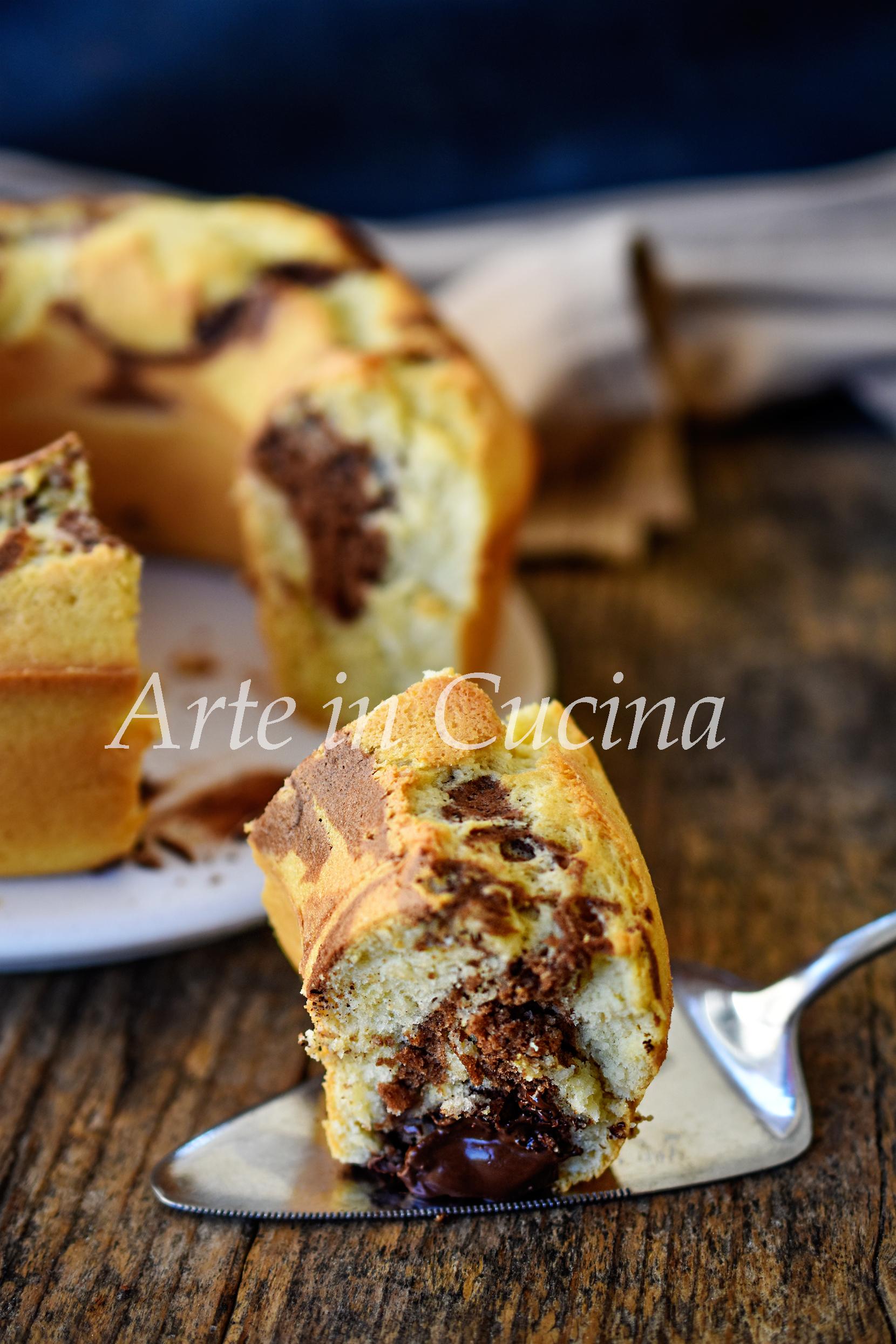 Ciambella variegata cuore di nutella senza burro e olio vickyart arte in cucina
