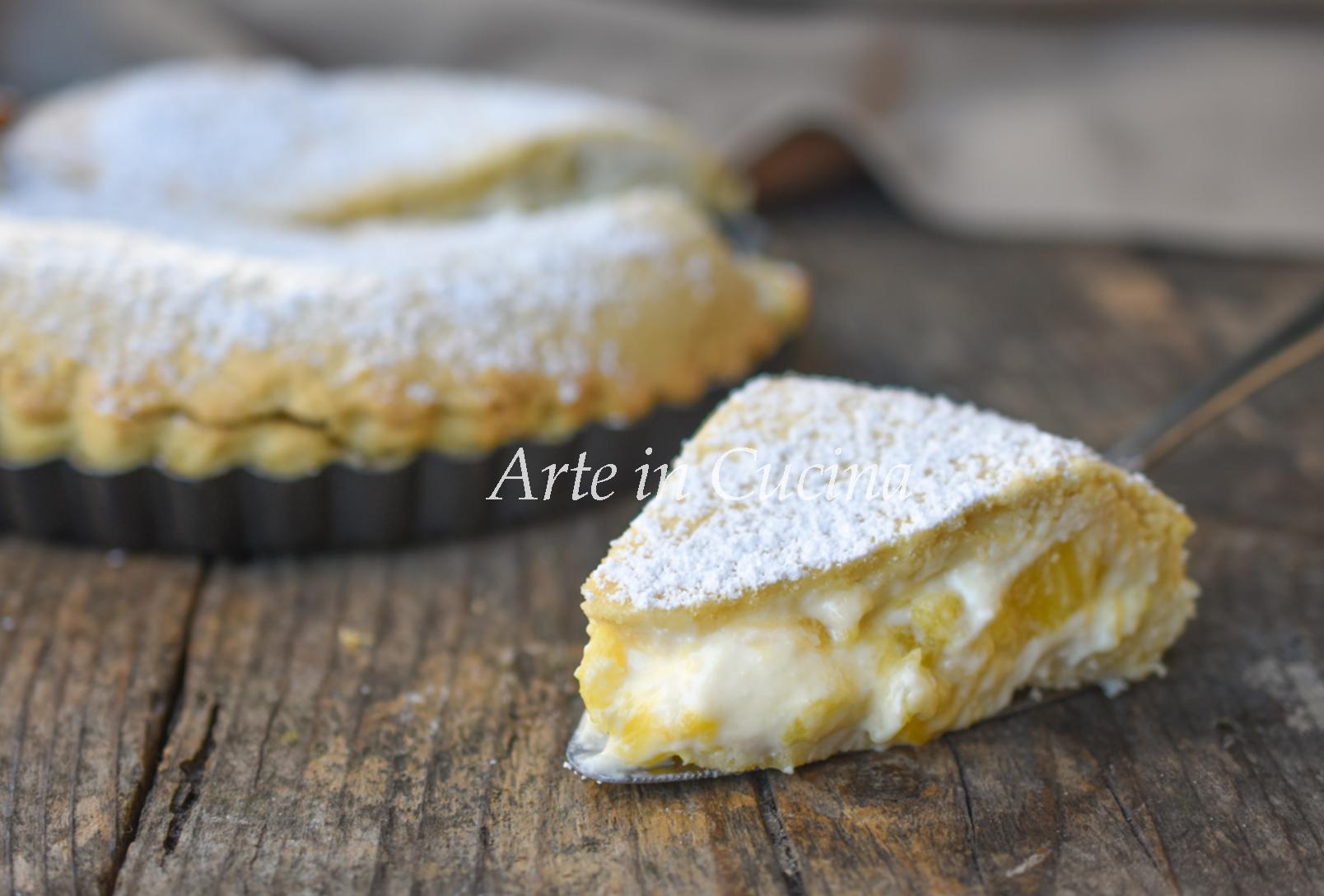 Crostata morbida ananas e ricotta dolce facile da preparare vickyart arte in cucina