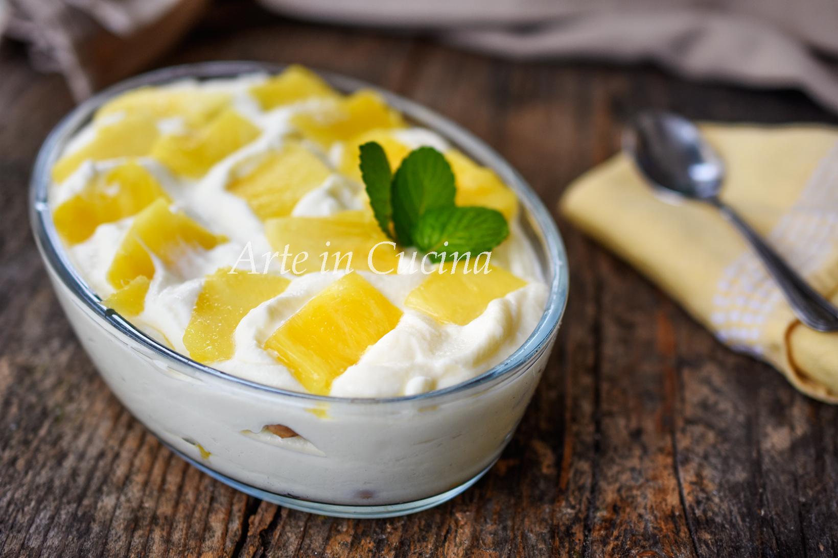 Dolce cremoso ananas e cioccolato bianco con biscotti vickyart arte in cucina