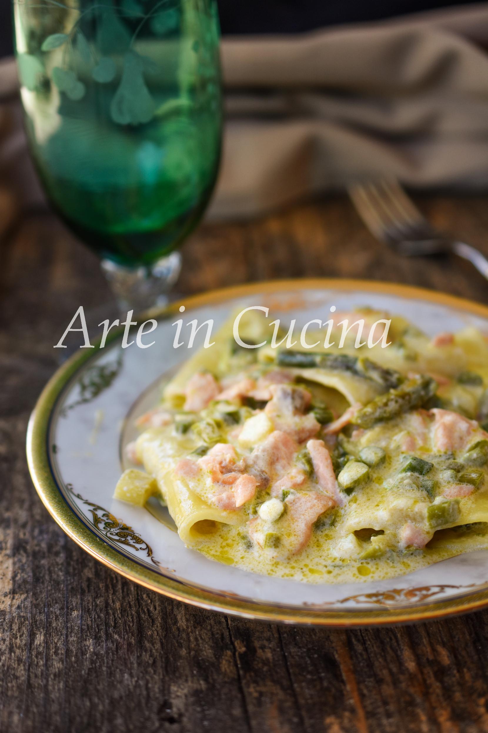 Paccheri asparagi e salmone cremosi ricetta facile primo veloce vickyart arte in cucina