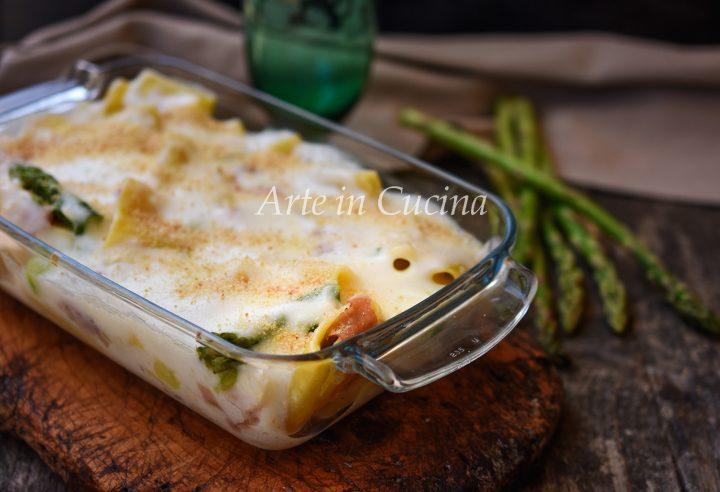 Paccheri al forno con asparagi e prosciutto con besciamella vickyart arte in cucina