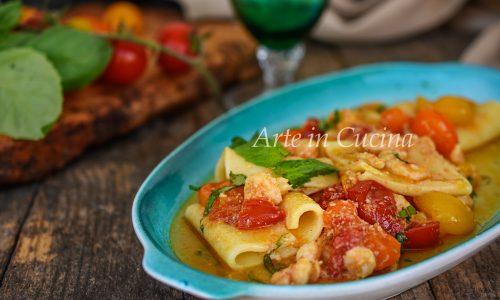 Paccheri con pomodorini e gamberetti