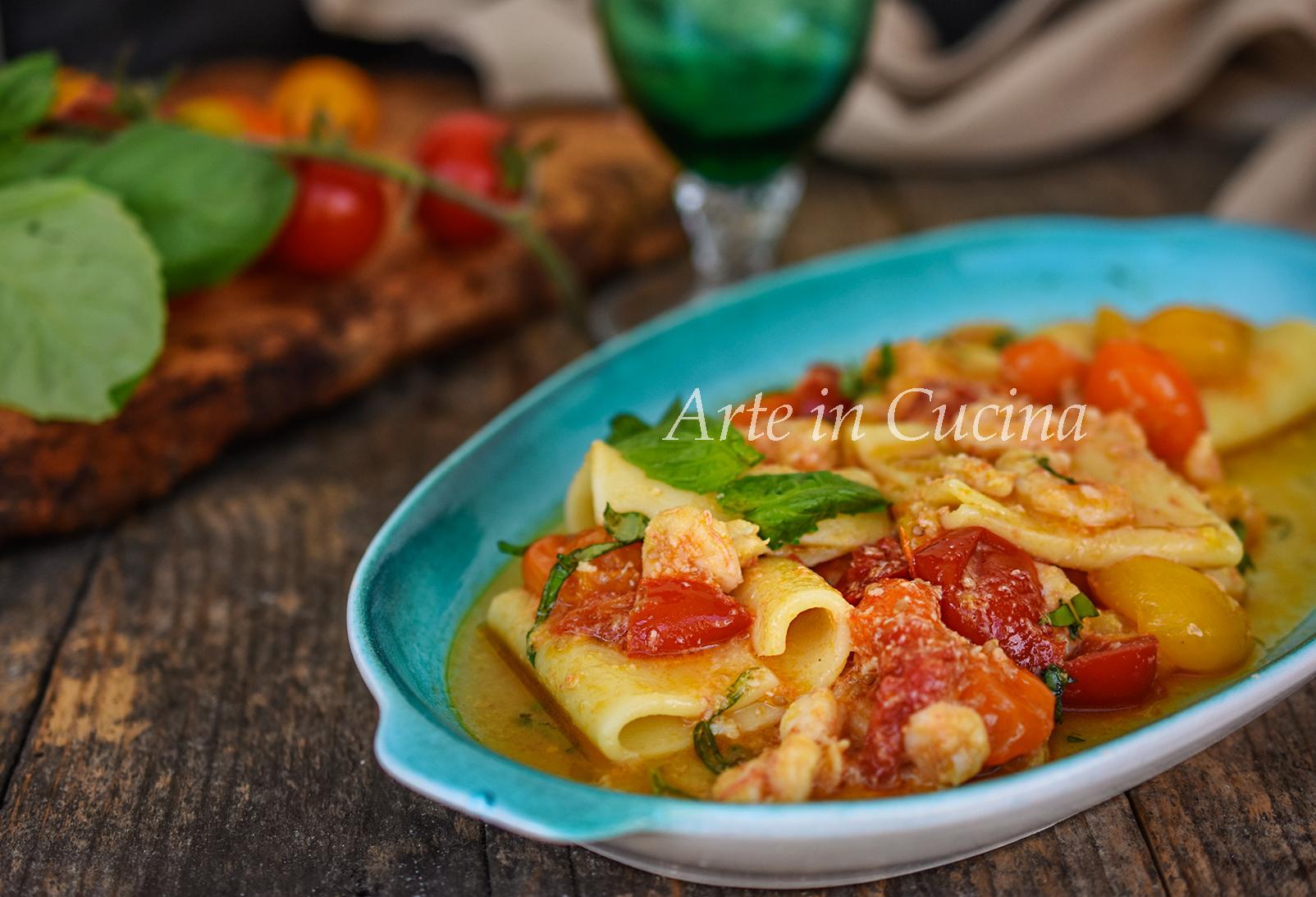 Paccheri con pomodorini e gamberetti primo piatto veloce vickyart arte in cucina