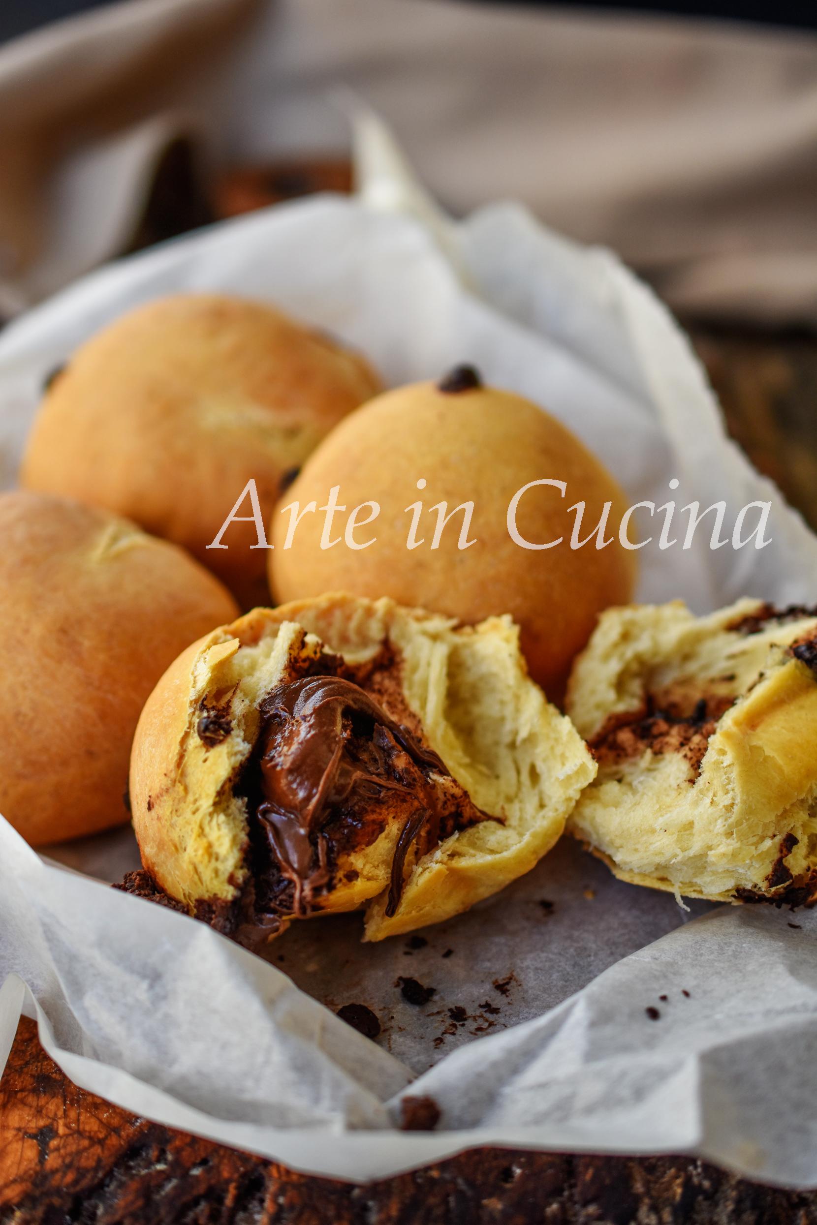 Panini con gocce ripieni di nutella senza olio e burro vickyart arte in cucina