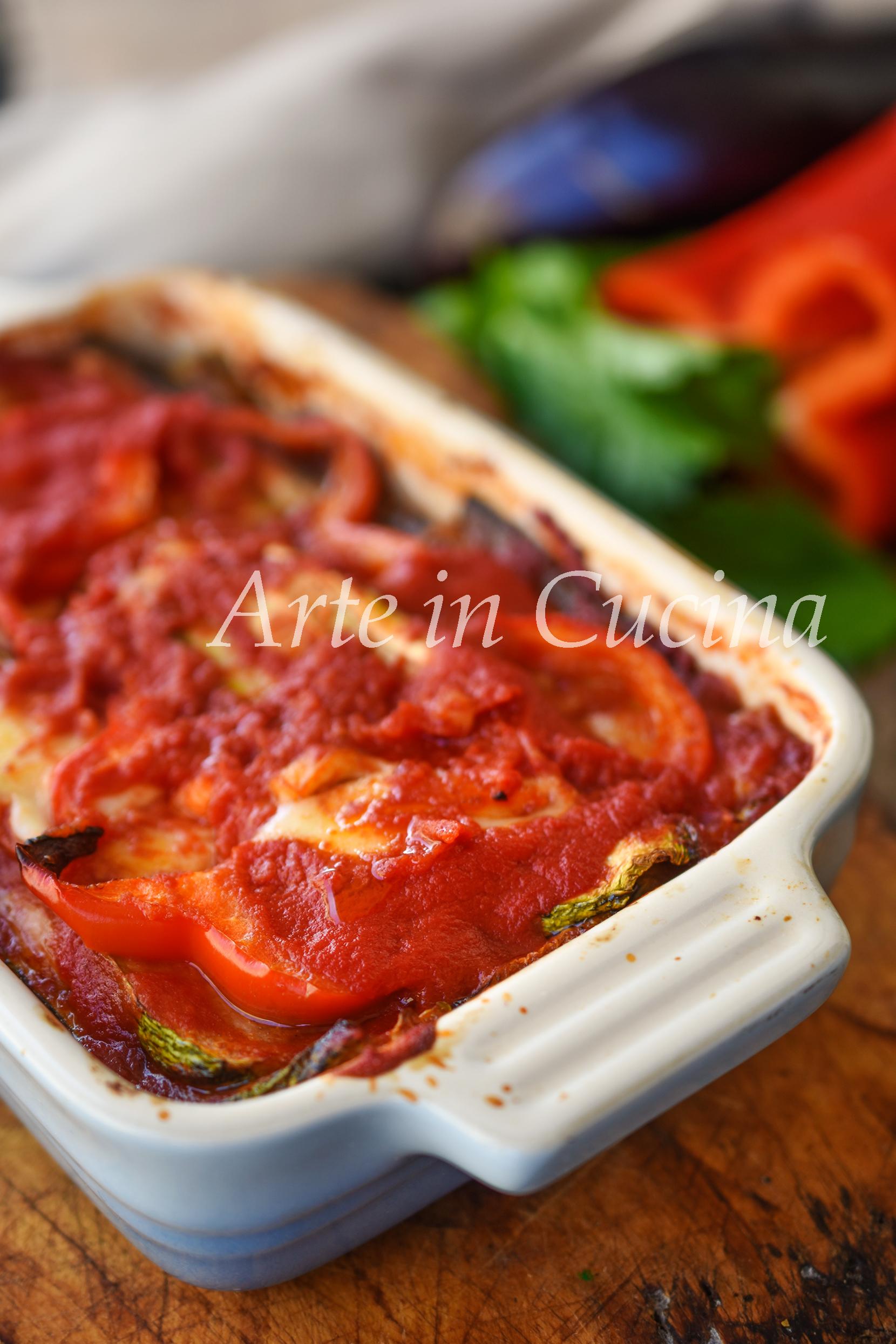 Parmigiana di verdure arrostite piatto semplice e leggero senza frittura vickyart arte in cucina